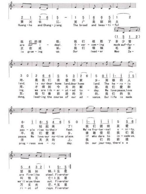 歌唱祖国(合唱)-曲谱歌谱大全-搜狐博客
