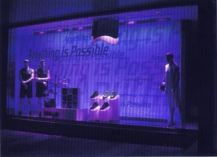 李宁体育用品专卖店橱窗灯光