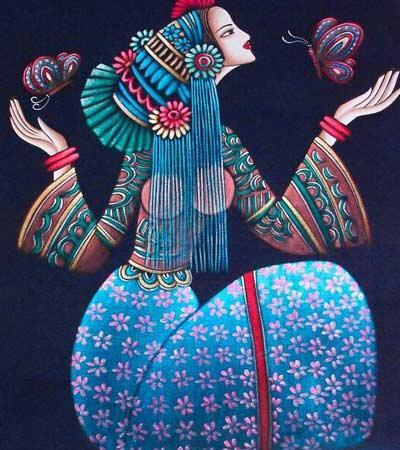 民族的蜡染各有特色,例如苗族的蜡染图案有的还沿用古代铜鼓的花纹和