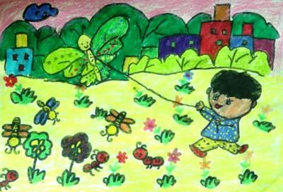 小朋友放风筝的简笔画分享展示