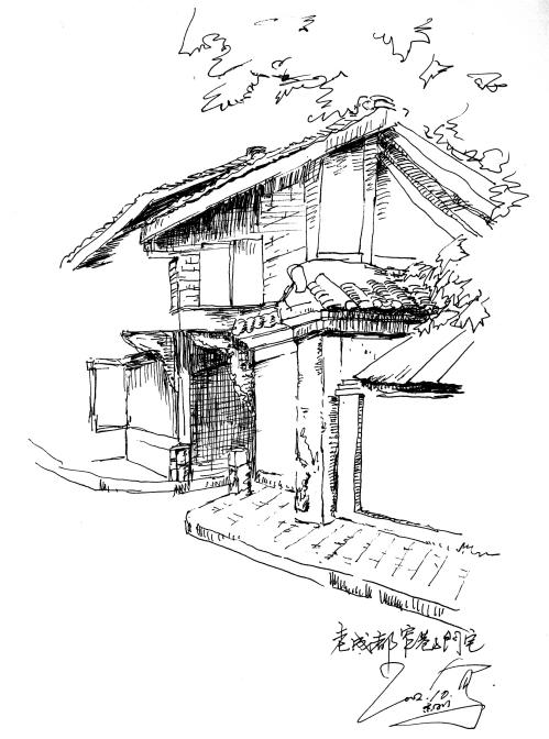中国古建筑钢笔画手绘分享展示