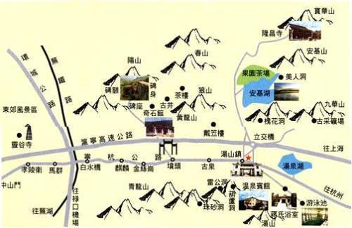 南京汤山风景区景点分布图